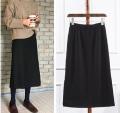 skirt Spring 2021 XS,S,M,L,XL,2XL,3XL Black [thin Roman fabric in spring and summer] Mid length dress Versatile High waist A-line skirt Solid color brocade zipper