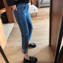 Jeans Spring 2021 blue 30,32,34,36,38 Ninth pants Natural waist Straight pants routine 25-29 years old Metal decoration Cotton elastic denim light colour Xi Youzi