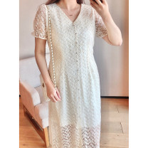 Women's large Spring 2021, summer 2021 Apricot 1X,2X,3X,4X Dress singleton  commute Straight cylinder moderate Socket Short sleeve Solid color, big flower Korean version V-neck polyester Three dimensional cutting puff sleeve Q61159#SC210412 Xi Youzi 25-29 years old Embroidery Medium length