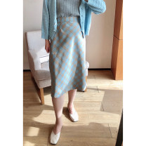 Women's large Spring 2021, summer 2021 Blue lattice 1X,2X,3X,4X skirt singleton  commute easy moderate lattice Korean version Polyester, others Three dimensional cutting Xi Youzi 25-29 years old Medium length