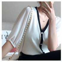 Women's large Spring 2021, summer 2021 Black, white 1X,2X,3X Knitwear / cardigan singleton  commute Straight cylinder moderate Socket three quarter sleeve Solid color Korean version V-neck routine Three dimensional cutting puff sleeve S9638#LT210402 Xi Youzi 25-29 years old Nail bead