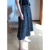 skirt Summer 2021 1X,2X,3X,4X Mid length dress commute High waist A-line skirt Broken flowers Type A 25-29 years old Korean version