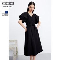 Dress Spring 2021 Obsidian black blue S M L XL Mid length dress singleton  Short sleeve commute V-neck High waist Socket Big swing puff sleeve 25-29 years old Type X Rococo / Rococo Ol style 311613TA1109 51% (inclusive) - 70% (inclusive) other cotton