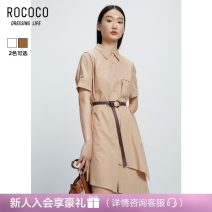 Dress Summer 2021 Optical white neutral rice Camel S M L XL Mid length dress singleton  Short sleeve commute Polo collar High waist Single breasted Irregular skirt routine Hanging neck style 25-29 years old Type H Rococo / Rococo Korean version 326013TA1113 51% (inclusive) - 70% (inclusive) Chiffon