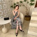 Dress Summer 2021 black S,M,L,XL Mid length dress singleton  Sleeveless commute V-neck High waist Decor Socket A-line skirt other camisole Type A Korean version 30% and below other other