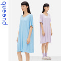 Nightdress Queen'd / Chundu Lavender purple inscription yellow glacier blue wing powder 155(S) 160(M) 165(L) 170(XL) 175(XXL) Simplicity Short sleeve pajamas Middle-skirt summer Solid color youth Crew neck other 41% (inclusive) - 60% (inclusive) Modal fabric QDWC05235 200g and below Summer 2021