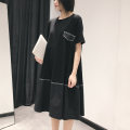 Dress Summer 2020 black FREE SIZE Mid length dress singleton  Short sleeve commute Crew neck Loose waist Solid color Socket A-line skirt routine Others 25-29 years old Type A Simplicity Pockets, stitching 71% (inclusive) - 80% (inclusive) other cotton