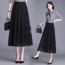 skirt Summer 2021 longuette commute High waist Pleated skirt Solid color Type A 25-29 years old fold Korean version One size fits all [skirt length 82cm] Black, grey, apricot, coffee