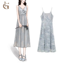 Dress Summer 2021 Blue grey S,M,L Middle-skirt singleton  Sleeveless commute V-neck High waist Decor zipper A-line skirt routine camisole 25-29 years old Type X GM (clothing) Retro Embroidery, button, mesh, zipper 81% (inclusive) - 90% (inclusive) other polyester fiber
