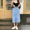 skirt Summer 2021 S,M,L,XL wathet Mid length dress commute High waist A-line skirt Solid color Type A 18-24 years old 51% (inclusive) - 70% (inclusive) Denim other Pockets, rags, buttons, zippers Korean version 401g / m ^ 2 (inclusive) - 500g / m ^ 2 (inclusive)