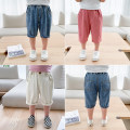 trousers McCarthy male 80cm,90cm,100cm,110cm,120cm,130cm white , Skin pink , Denim blue summer Cropped Trousers Korean version There are models in the real shooting Jeans Leather belt middle-waisted cotton Open crotch ck288 Chinese Mainland Zhejiang Province Shaoxing