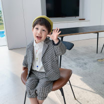 suit McCarthy Black and white check 90cm,100cm,110cm,120cm,130cm male spring and autumn Korean version Long sleeve + pants 2 pieces routine There are models in the real shooting Single breasted nothing lattice cotton children Expression of love Chinese Mainland Zhejiang Province Huzhou City