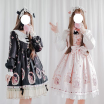Dress Winter of 2018 S, M Middle-skirt Sweet V-neck High waist Princess Dress Other / other Stitching, lace, print other other Lolita