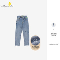 trousers MUCMUKN female 160cm,130cm,120cm,150cm,140cm,110cm,100cm blue spring trousers leisure time No model Jeans Leather belt middle-waisted cotton Don't open the crotch Cotton 89% polyester 8.5% polyurethane elastic fiber (spandex) 2.5% M11XK1209 Class A Chinese Mainland Zhejiang Province Hangzhou