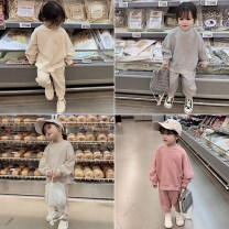suit Yoehaul / youyou Grey, apricot, pink, beige, apricot (pre-sale), pink (pre-sale), grey (pre-sale), beige (pre-sale) 80cm,90cm,100cm,110cm,120cm,130cm,140cm female spring and autumn leisure time Long sleeve + pants 2 pieces routine There are models in the real shooting Socket nothing other