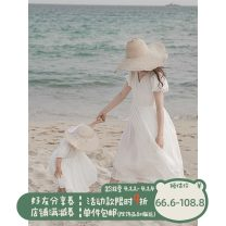 Dress White, white (pre-sale) female Yoehaul / youyou 80cm, 90cm, 100cm, 110cm, 120cm, 130cm, 140cm, m, l Other 100% summer leisure time Short sleeve Solid color Cotton blended fabric other other Chinese Mainland Zhejiang Province Hangzhou