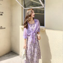 Women's large Summer 2021 Purple suit Large L (recommended 90-100 kg), large XL (recommended 100-120 kg), large XXL (recommended 120-140 kg), large XXXL (recommended 140-160 kg), large XXXXL (recommended 160-180 kg) Dress Two piece set other moderate Conjoined Long sleeves routine D1925HM other