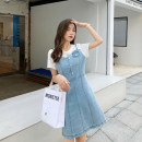 Women's large Summer 2021 blue Large L (recommended 90-100 kg), large XL (recommended 100-120 kg), large XXL (recommended 120-140 kg), large XXXL (recommended 140-160 kg), large XXXXL (recommended 160-180 kg) Dress Two piece set commute easy moderate Socket Short sleeve Solid color Korean version