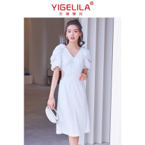Dress Summer 2021 silvery white S M L Middle-skirt singleton  Short sleeve commute V-neck High waist Solid color zipper A-line skirt routine 25-29 years old Type A Yigelila lady zipper More than 95% polyester fiber Polyester 97% polyurethane elastic fiber (spandex) 3% Pure e-commerce (online only)