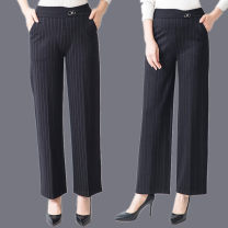 Casual pants 358.1 [fine stripe], 358.2 [coarse stripe] XL waist 2'1-2'3,2xl waist 2'3-2'5,3xl waist 2'5-2'7,4xl waist 2'7-2'9,5xl waist 2'9-3'2 Autumn of 2019 trousers Wide leg pants High waist Versatile routine 40-49 years old LT-358-520 Other / other Cotton blended fabric