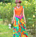 Dress Spring 2021 Rose red, peacock green, orange M,L,XL,XXL longuette singleton  Short sleeve commute V-neck High waist Big flower Socket Big swing other Others 18-24 years old Type A ethnic style Zipper, fold, print, embroidery 71% (inclusive) - 80% (inclusive) cotton