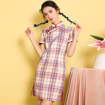 cheongsam Spring 2021 S,M,L,XL Purple Plaid short Short sleeve Short cheongsam Retro Low slit daily Oblique lapel lattice 18-25 years old Piping 51% (inclusive) - 70% (inclusive)