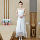 Women's large Spring 2021 white Large XL, large XXL, large XXL, large L Dress singleton  commute easy thin Socket Sleeveless Solid color Simplicity routine polyester fold Other / other 18-24 years old Three dimensional decoration 51% (inclusive) - 70% (inclusive) longuette Princess Dress