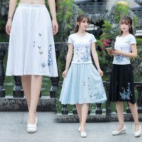 skirt Spring 2021 Average size White, light blue, black Middle-skirt Versatile Natural waist A-line skirt Type A 18-24 years old 71% (inclusive) - 80% (inclusive) hemp Embroidery