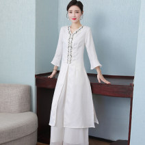 Dress Spring 2021 One size pants, white dress, green dress M,L,XL Mid length dress singleton  three quarter sleeve commute V-neck middle-waisted other Single breasted other pagoda sleeve Others 25-29 years old Type H ethnic style Embroidery 71% (inclusive) - 80% (inclusive) nylon