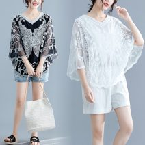 Women's large Summer 2021 White, black Big size average T-shirt singleton  commute easy thin Socket Animal design Retro have cash less than that is registered in the accounts polyester 25-29 years old Embroidery Hollowing out