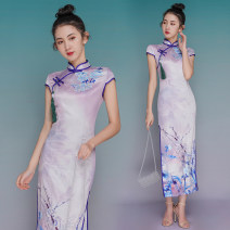 cheongsam Summer 2021 XXL,S,M,L,XL Picture color Short sleeve long cheongsam ethnic style High slit daily Oblique lapel Decor 18-25 years old cotton 81% (inclusive) - 90% (inclusive)