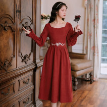 Dress Spring 2021 Red, black M,L,XL longuette singleton  Long sleeves commute square neck High waist Solid color Socket A-line skirt Petal sleeve 25-29 years old Type A Retro Embroidery 51% (inclusive) - 70% (inclusive)