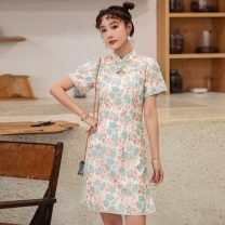 cheongsam Summer 2021 S,M,L,XL Water green Short sleeve Single cheongsam Retro No slits daily 25-35 years old Piping 71% (inclusive) - 80% (inclusive)