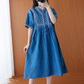 Women's large Summer 2021 blue Big size average Dress singleton  commute easy thin Socket Short sleeve Solid color Simplicity V-neck Medium length cotton Three dimensional cutting routine 25-29 years old Embroidery 96% and above longuette other bow Three buttons other