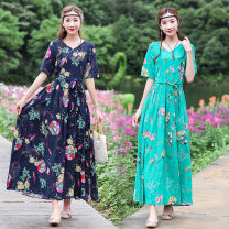 Dress Spring 2021 Green, Navy M,L,XL,2XL longuette singleton  Short sleeve commute V-neck Elastic waist Decor Socket Big swing routine Others 25-29 years old Type A Retro 81% (inclusive) - 90% (inclusive) cotton