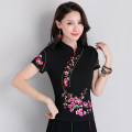 T-shirt Black, white, red L,XL,2XL,3XL,4XL,5XL,6XL Spring 2021 Short sleeve stand collar Self cultivation Regular routine commute cotton 86% (inclusive) -95% (inclusive) 25-29 years old ethnic style literature Nail bead, embroidery