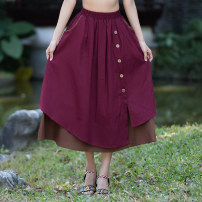 skirt Spring 2021 Average size Blue, red, black longuette Versatile Natural waist A-line skirt Solid color Type A 35-39 years old 51% (inclusive) - 70% (inclusive) other hemp Button