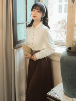 Dress Autumn 2020 Picture color S,M,L,XL Mid length dress Two piece set Long sleeves commute Doll Collar High waist Type A lady Lace 51% (inclusive) - 70% (inclusive)