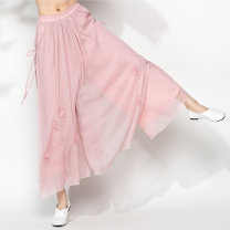 Casual pants Average size Spring 2021 trousers Wide leg pants Natural waist commute Thin money 25-29 years old 96% and above polyester fiber Retro Embroidery polyester fiber