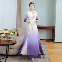 Dress Spring 2021 Gradient purple S,M,L,XL,2XL,3XL longuette singleton  three quarter sleeve commute V-neck middle-waisted Decor Socket Big swing routine Others Other / other Retro zipper 91% (inclusive) - 95% (inclusive) Chiffon