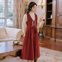 Dress Spring 2021 Red strap, apricot top M,L,XL,2XL longuette Two piece set Long sleeves commute V-neck High waist Solid color A-line skirt routine straps 25-29 years old Type A Retro Frenulum 51% (inclusive) - 70% (inclusive)