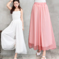 Casual pants White, pink, red, cyan, black Average size Spring 2021 trousers Wide leg pants Natural waist commute Thin money literature Tencel