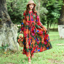 Dress Spring 2021 Red, green L,XL,2XL longuette singleton  Long sleeves commute Crew neck Elastic waist Decor Big swing routine 35-39 years old Type A Other / other Retro Pocket, tie, print 51% (inclusive) - 70% (inclusive) other hemp