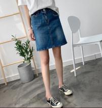 skirt Summer of 2019 155/60A,160/64A,165/68A,170/72A,175/76A blue Short skirt Natural waist A-line skirt Type A cotton