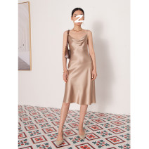 Dress Spring 2021 S,M,L Mid length dress singleton  Sleeveless commute Dangling collar High waist Solid color Socket other camisole 25-29 years old Type H Ji ran lady LY000467A More than 95% Silk and satin silk
