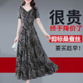 Dress Summer 2020 Black, red M,L,XL,2XL,3XL longuette singleton  Short sleeve commute V-neck middle-waisted Decor zipper Big swing routine Others 30-34 years old Type A Korean version 71% (inclusive) - 80% (inclusive) silk
