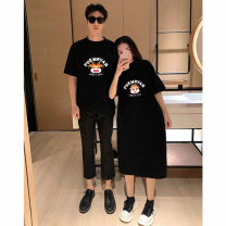 T-shirt Crew neck M. L, XL, XXL, large 3XL, large 4XL Other / other Black [long], yellow [long], black [short], white [short] Long sleeves spring and autumn Korean version Medium length Cartoon animation routine Pure cotton (95% and above)