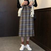 skirt Autumn 2020 Average size Khaki, Burgundy Mid length dress Versatile High waist A-line skirt lattice 30% and below Wool
