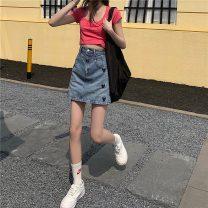 skirt Summer 2021 S,M,L blue Short skirt commute High waist skirt Solid color Type A 71% (inclusive) - 80% (inclusive) Denim pocket
