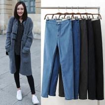 Jeans Spring 2021 Black, dark blue, dark gray, light blue S,M,L,XL,2XL Ninth pants High waist Pencil pants Thin money Dark color